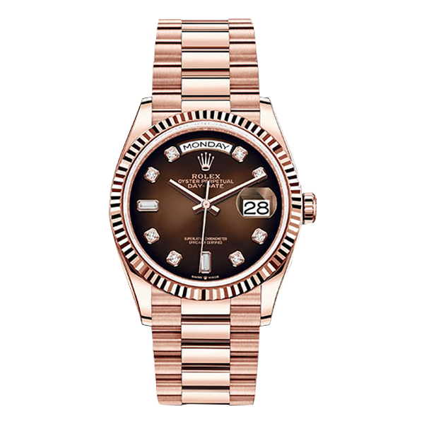 Rolex Day-Date Everose Gold Brown Ombré Diamond Dial