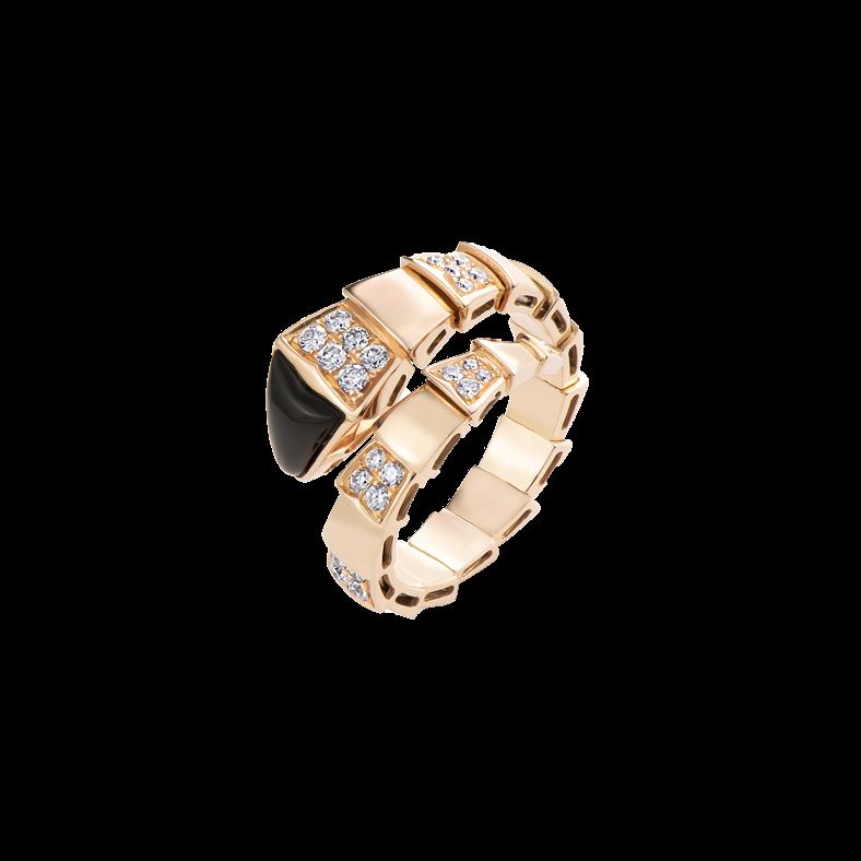 Bulgari Serpenti Viper Ring Rose Gold Black Onyx Elements And Pavé Diamonds