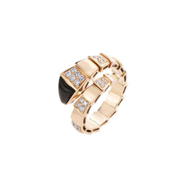 Bulgari Serpenti Viper Ring Rose Gold Black Onyx Elements And Pavé Diamonds