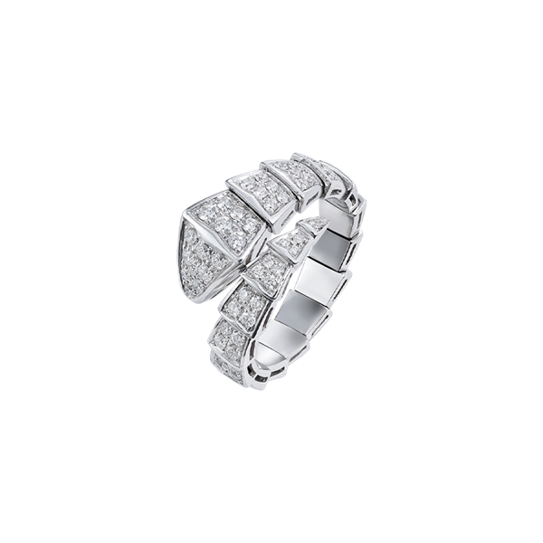 Bulgari Serpenti Viper Ring White Gold Full Pavé