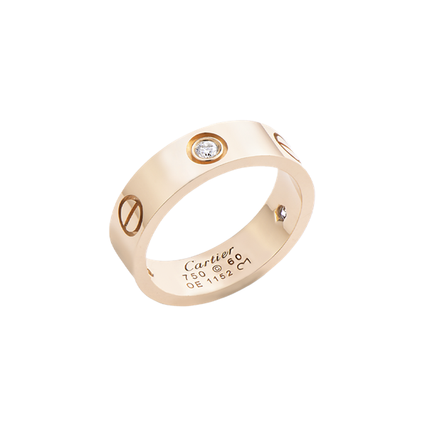 CCartier Love Ring Pink Gold 3 Diamonds