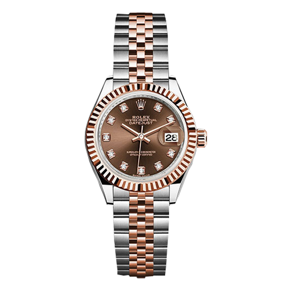Rolex Datejust Rolesor Everose Gold Chocolate Diamond Dial