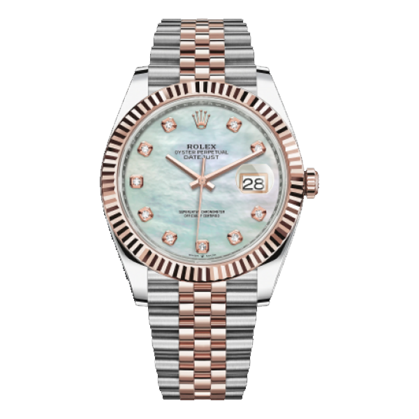 Rolex Datejust Rolesor Everose Gold Mother Of Pearl Diamond Dial