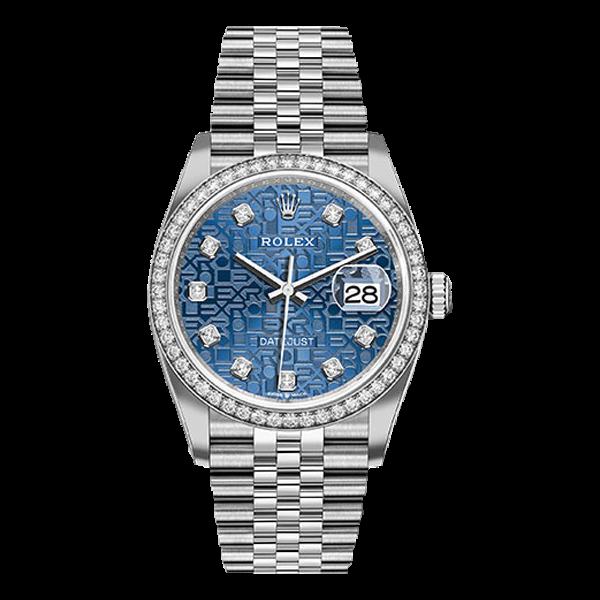 Rolex Datejust Rolesor White Gold Blue Jubilee Diamond Dial - Diamond Bezel