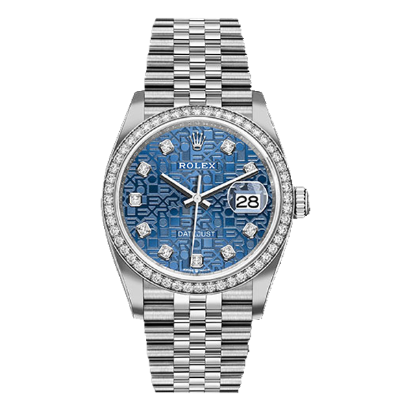 Rolex Datejust Rolesor White Gold Blue Jubilee Diamond Dial - Diamond Bezel
