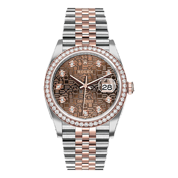 Rolex Datejust Rolesor Everose Gold Chocolate Jubilee Diamond Dial - Diamond Bezel