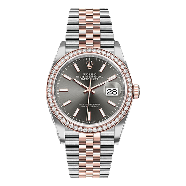 Rolex Datejust Rolesor Everose Gold Dark Rhodium Index Dial - Diamond Bezel