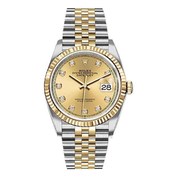 Rolex Datejust Rolesor Yellow Gold Champagne Diamond Dial