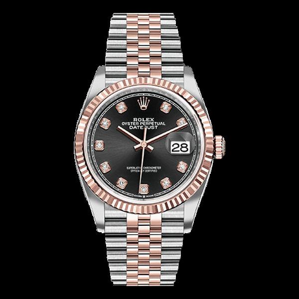 Rolex Datejust  Rolesor Everose Gold Black Diamond Dial