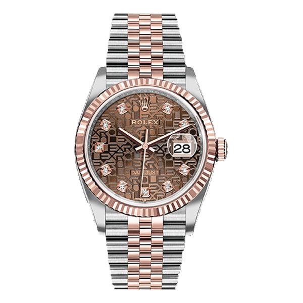 Rolex Datejust Rolesor Everose Gold Chocolate Jubilee Diamond Dial