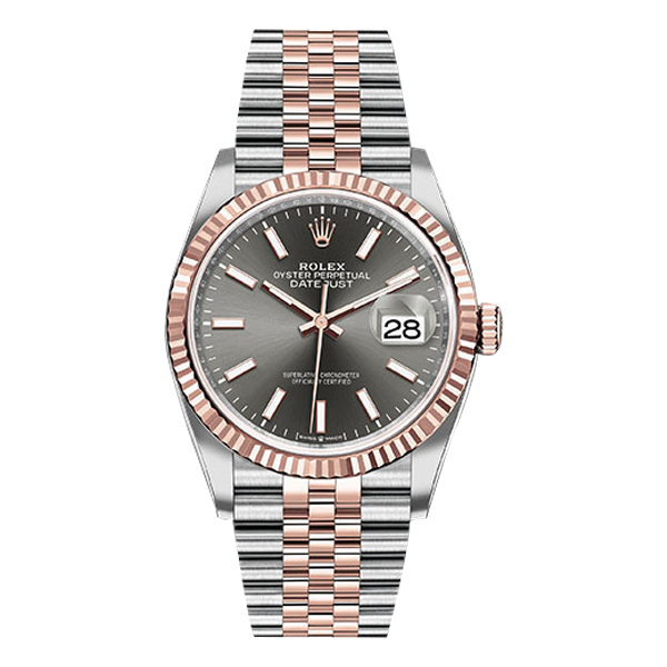 Rolex Datejust Rolesor Everose Gold Dark Rhodium Index Dial