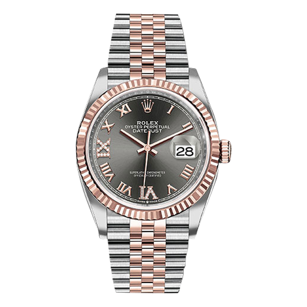 Rolex Datejust Rolesor Everose Gold Dark Rhodium Roman Diamond Dial