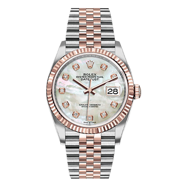 Rolex Datejust Rolesor Everose Gold White Mother Of Pearl Diamond Dial