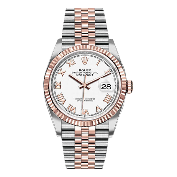 Rolex Datejust Rolesor Everose Gold White Roman Dial