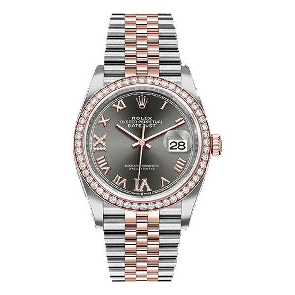 Rolex Datejust Rolesor Everose Gold Dark Rhodium Roman Diamond Dial - Diamond Bezel