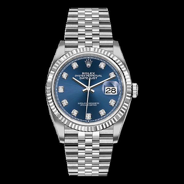 Rolex Datejust Rolesor White Gold Blue Diamond Dial