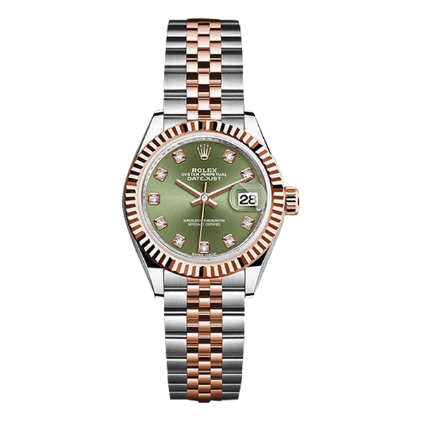 Rolex Datejust Rolesor Everose Gold Olive Green Diamond Dial