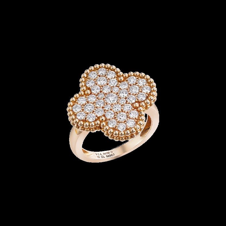Van Cleef & Arples Magic Alhambra Ring Rose Gold Full Pavé