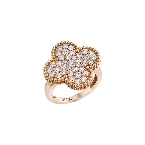 Van Cleef & Arples Magic Alhambra Ring Rose Gold Full Pavé